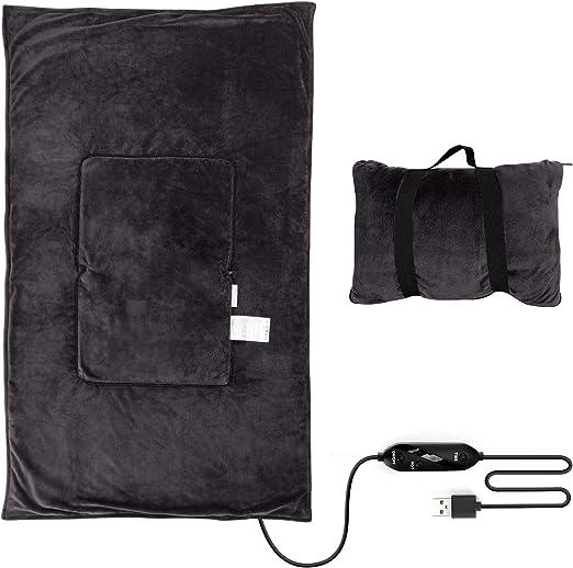 Viaje con una manta eléctrica Calefactor USB eléctrico Calentador Lap Cape, Zip en una almohada de 9.8