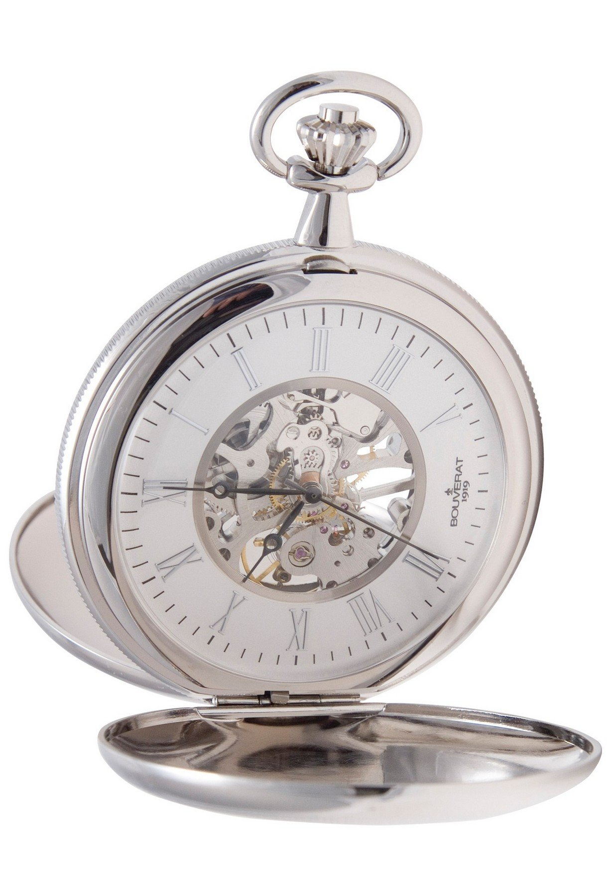 Bouverat 1919 Double Opening Shield Case Full Hunter Mechanical Roman Pocket Watch with Silver Dial BV824205
