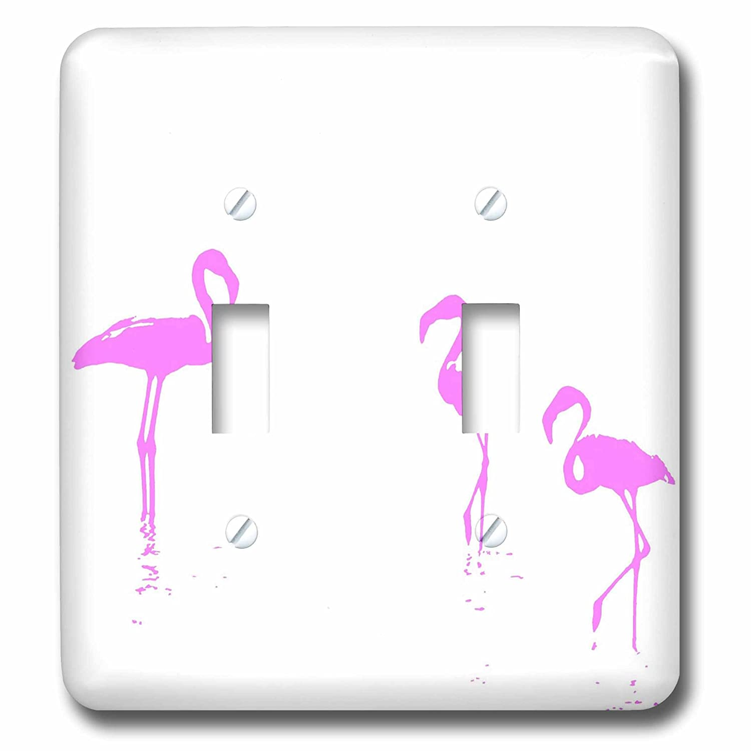 3dローズTaiche – ベクトル – フラミンゴ – We Are the Three Flamingoesシルエットinピンク – 照明スイッチカバー – ダブルトグルスイッチ(LSP 275654 _ 2 ) B07BFH4PSW