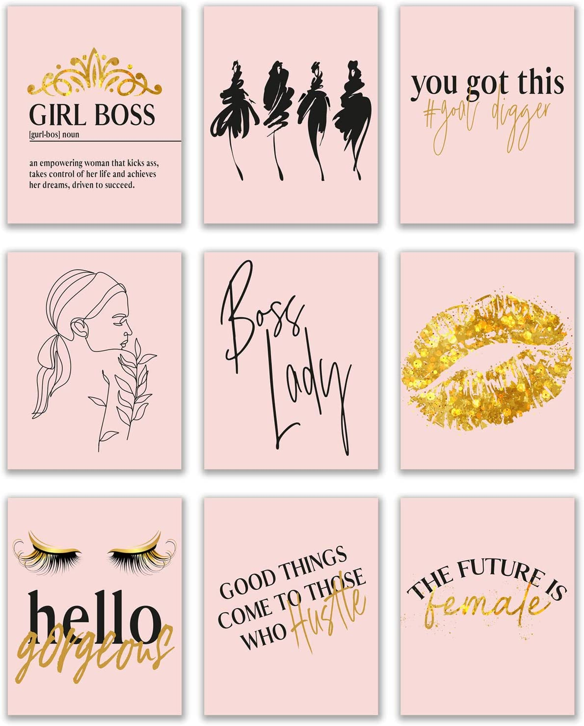 Boss Lady Prints - Set of 9 (8x10) Glossy Blush Pink and Gold Inspirational Hustle Office Motivational Poster Wall Art Women Decor Fashionista Quotes - Lips Lashes Goal Digger Girl Boss Fashion