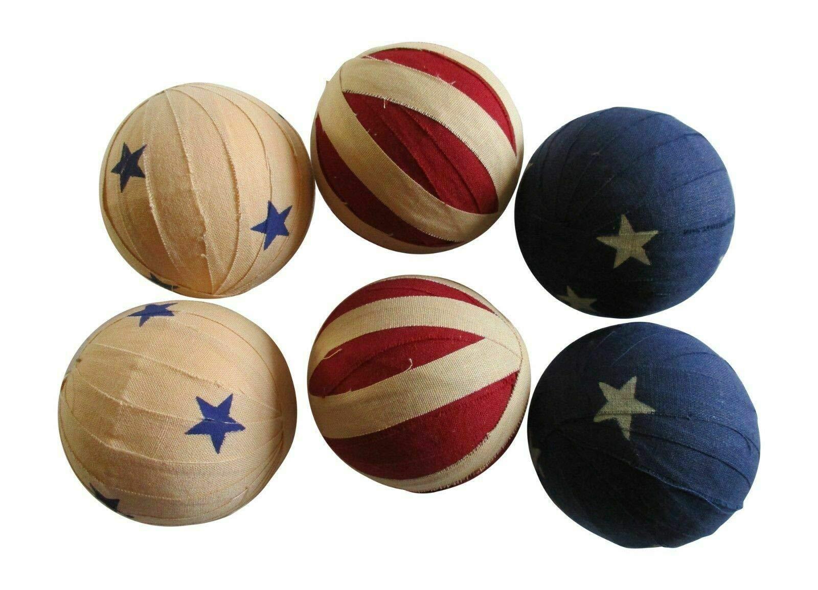 Primitive & Country Style 6 Primitive Americana Rag Balls - 2.5'' Bowl Fillers - Patriotic Rustic Home Decor