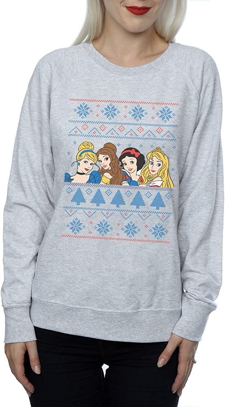 Disney Womens Princess Christmas Faces Sweatshirt
