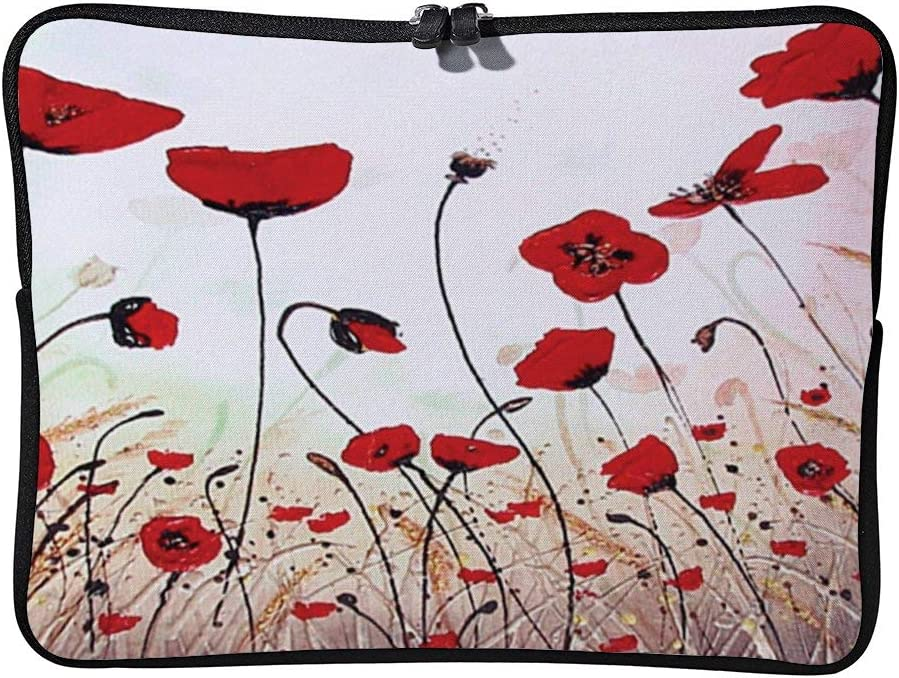 Charming Oil Painting Beautiful Red Poppy 10inch Neoprene Laptop Sleeve Case Protective Computer Cover Portable Carrying Bag Pouch for Notebook