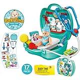 Doctor Nurse Medical Kit Pretend Playset for Kids + Bonus a Baby Doll (17 PCS)