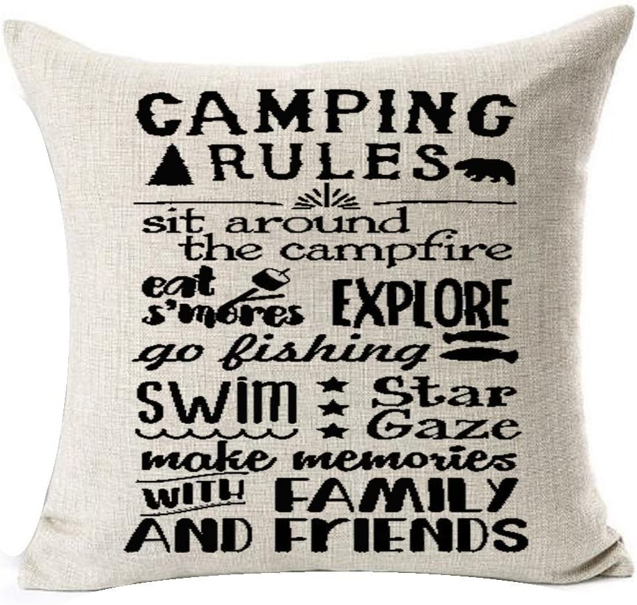 """Retro camping rules be relax make memories with family and friends enjoy the holiday Throw Pillow Cover Cushion Case Cotton Linen Material Decorative 18 """"x18'' Square (2)"""