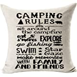 "Retro camping rules be relax make memories with family and friends enjoy the holiday Throw Pillow Cover Cushion Case Cotton Linen Material Decorative 18 ""x18'' Square (2)"