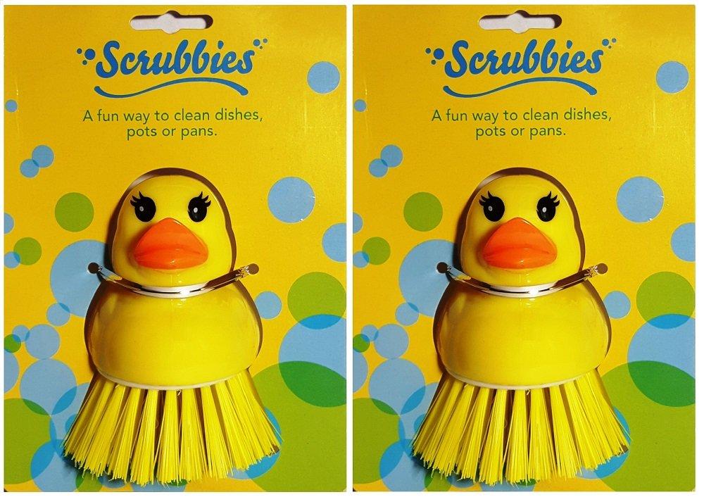 Kitchen Scrub Brush Set of 2 Yellow Ducks – Pot Scrubber, Vegetable and Fruit Brush Scrubbers