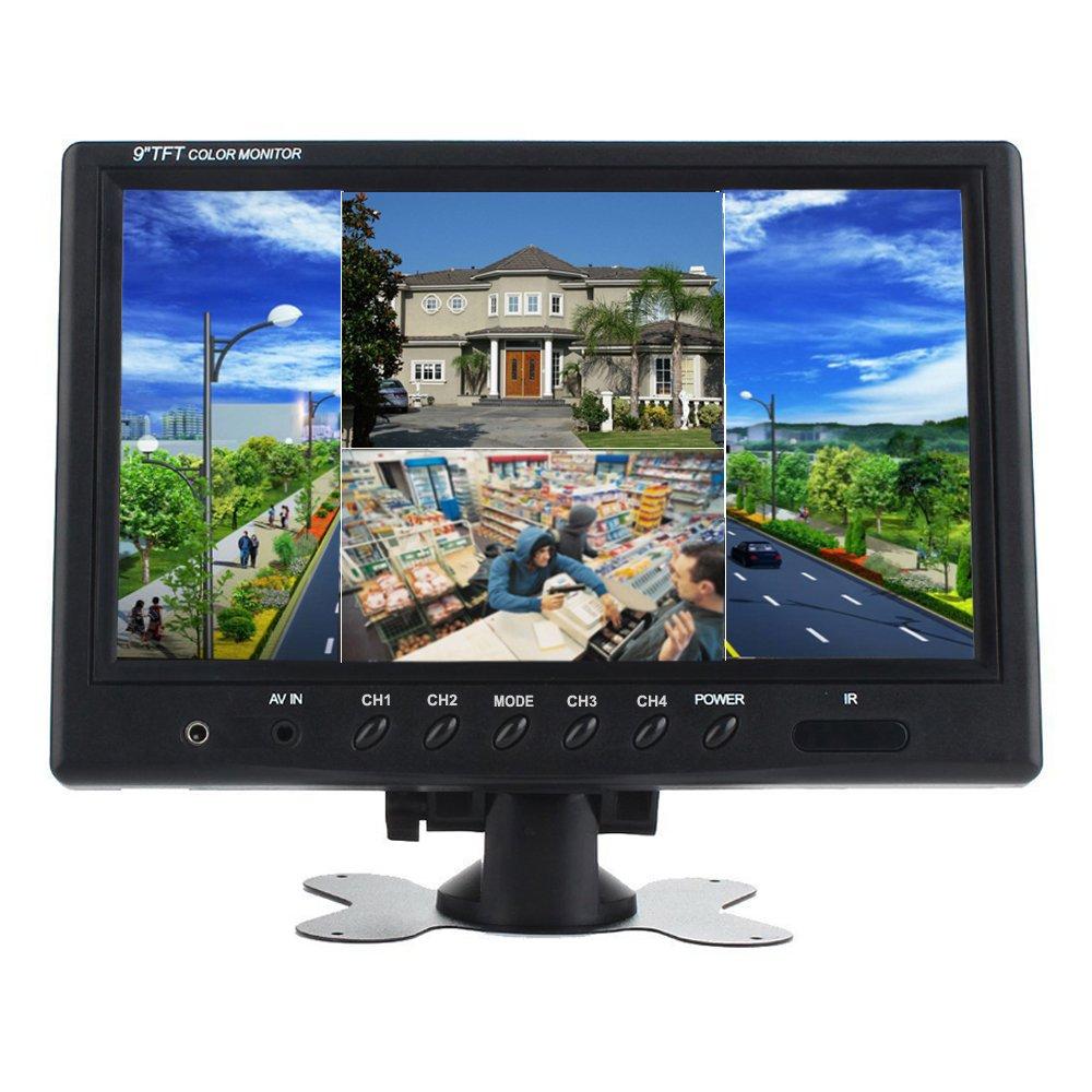 Podofo® 9 Pulgadas HD 12V 24V Quad de Split Reposacabezas Monitor 4 Canales Entrada de Vídeo Revés para Cámara Marcha Atras RV Vigilancia de Seguridad CCTV C006202