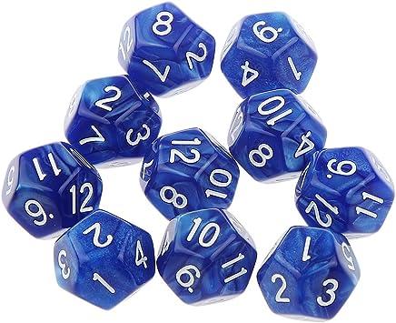 Desconocido 10pcs Juegos de Mesa Dados de Doce Caras D & D TRPG Padrón de Perla - Azul: Amazon.es: Juguetes y juegos