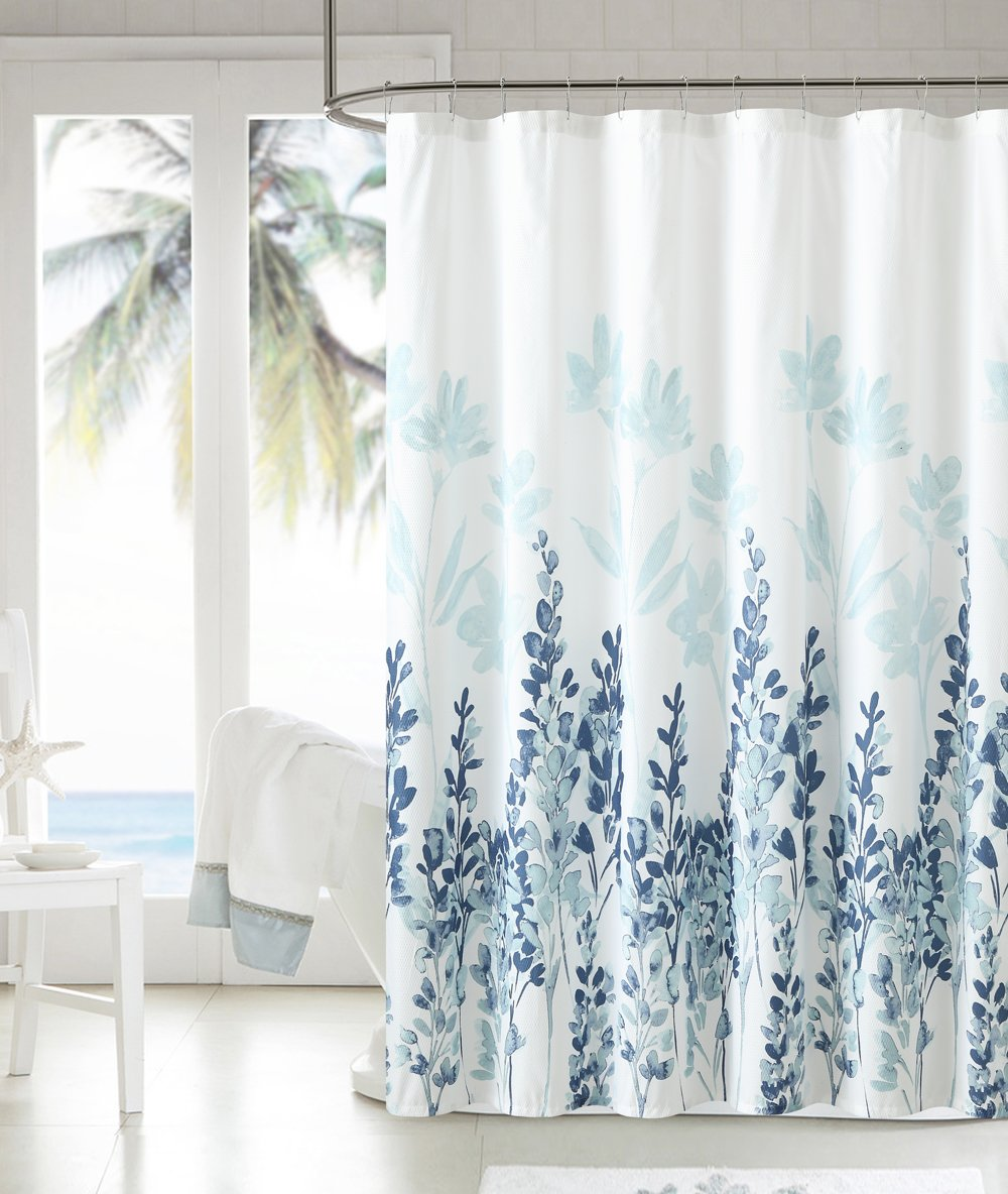amazoncom luxury home mirage shower curtain teal home  kitchen -