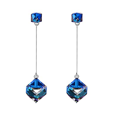 SIVERY 'Infinity Love' Dangle Earrings Made with Swarovski Crystals, Jewellery for Women, Earings for Women