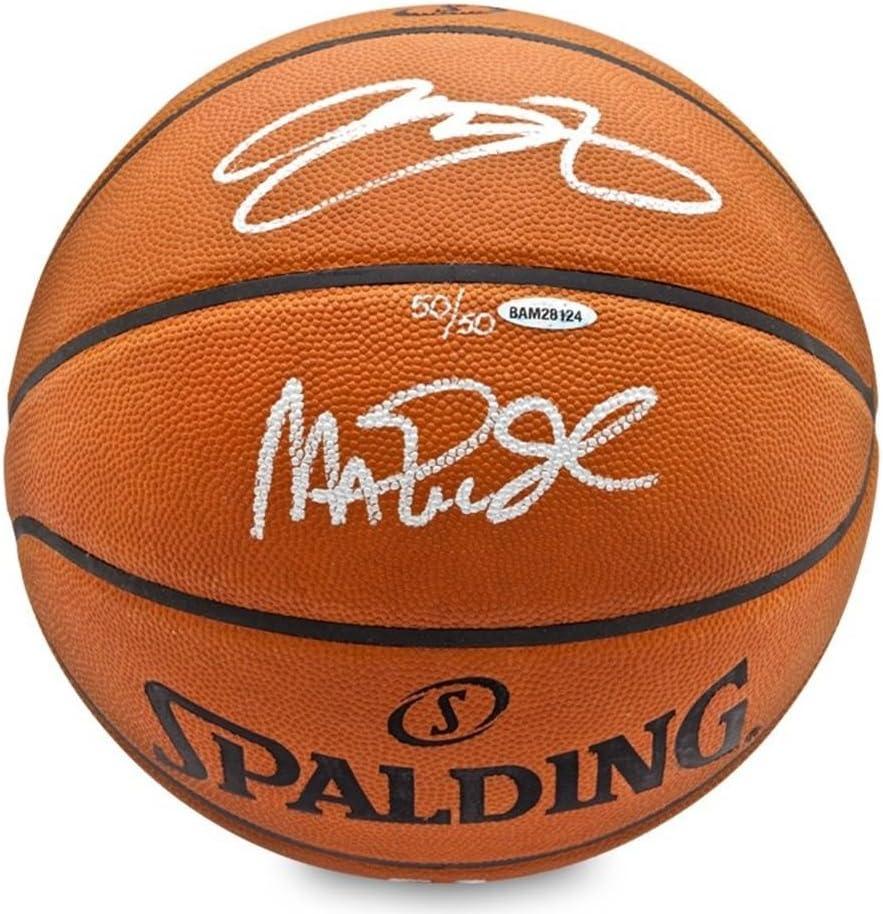 Magic Johnson & LeBron James Autographed Basketball - Upper Deck - Autographed Basketballs