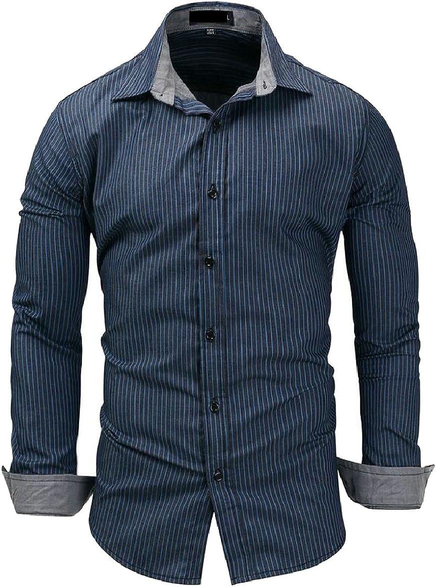FLCH+YIGE Mens Denim Dress Shirt Long Sleeve Casual Fitted Button Down Shirt Top