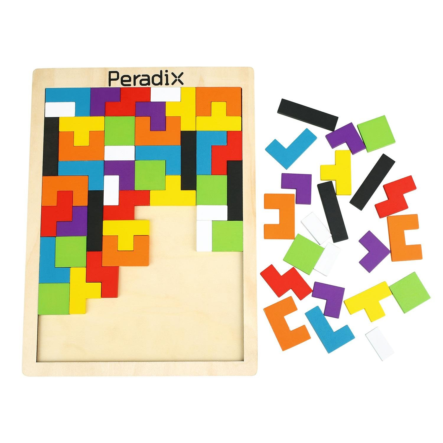 Peradix Wooden Jigsaws Tangram Puzzle Board Toys Colourful Brain Teasers Upgraded Toys Set 63PCS for Preschool Imagination Intellectual Education