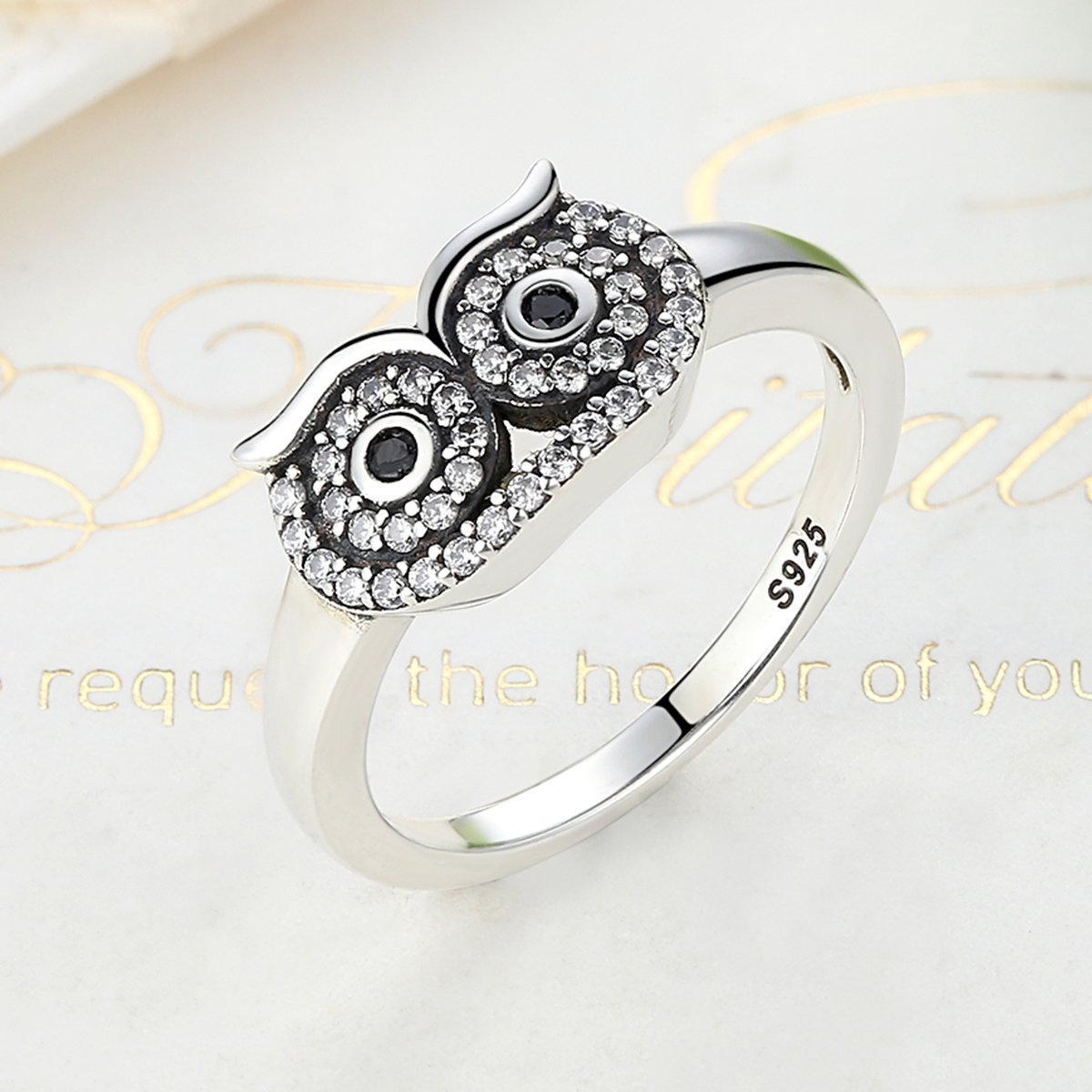 The Kiss Cute Owl 925 Sterling Silver Ring Clear CZ