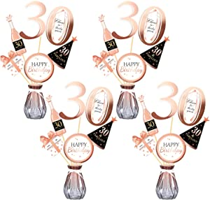 Konsait Rose Gold 30th Birthday Centerpiece Sticks-30th Birthday Table Toppers -Birthday Party Decorations Accessories- 30 Fabulous -Bday Party Cheers to Thirty Years Birthday Party Favor Supplies