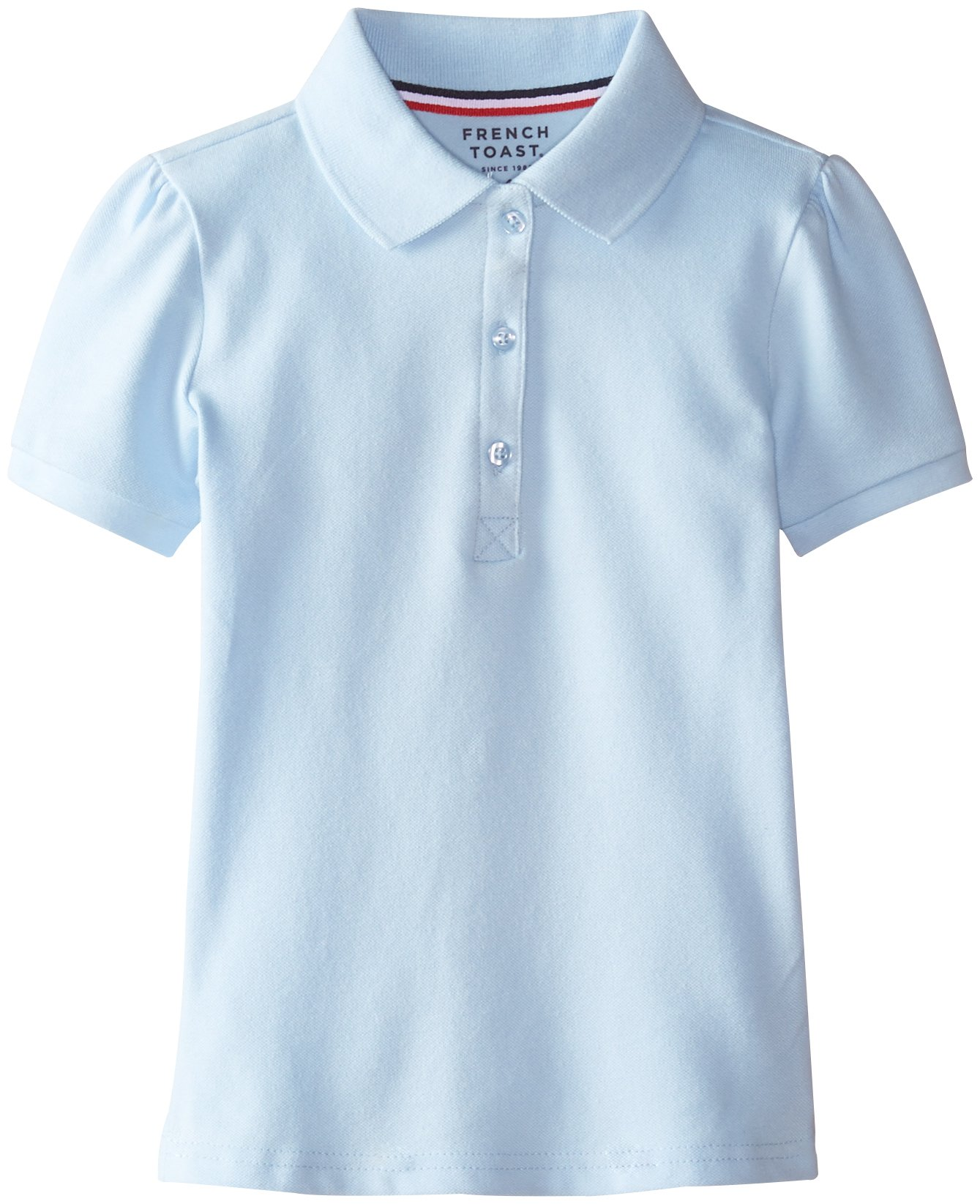 French Toast Little Girls' Short Sleeve Stretch Pique Polo, Light Blue, 6