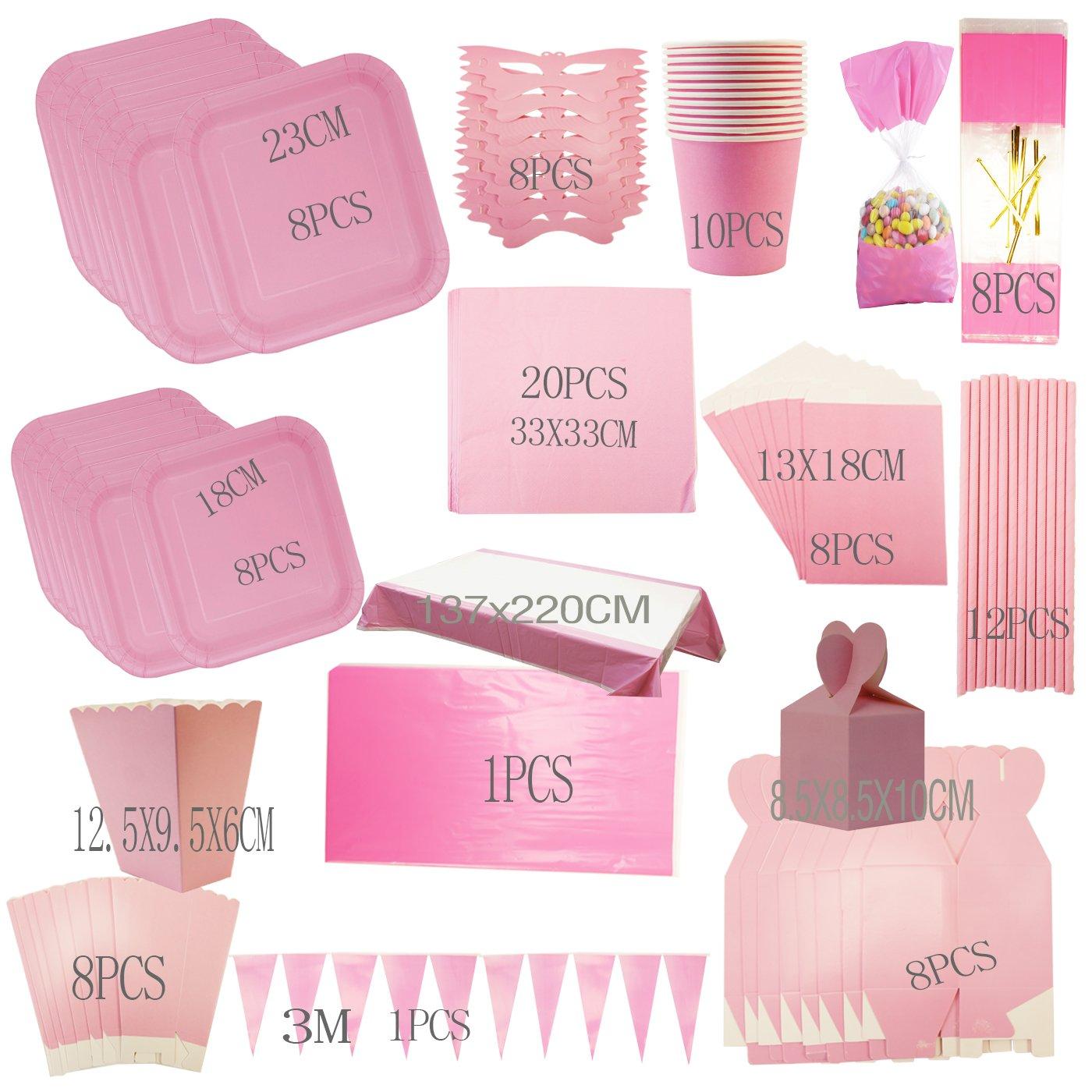 Cotigo-Set Vajilla Cumplea/ños Kit de Articulo Fiesta para 16 Liso Color Rosa