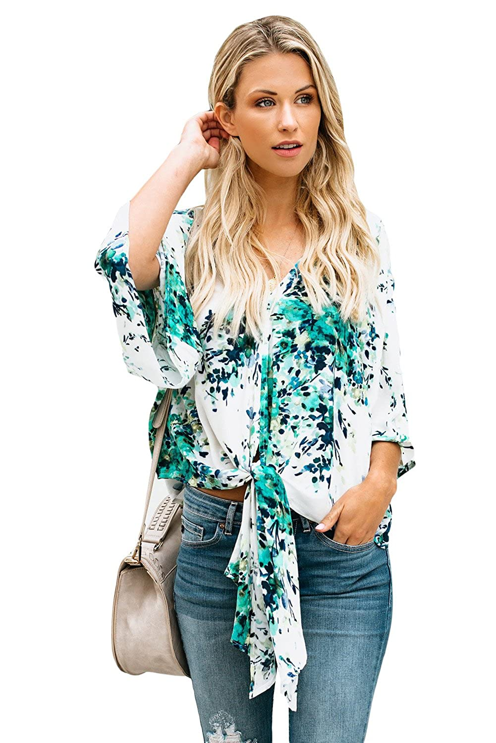 e38589a5 Floral Tie Front Knot Chiffon Blouses Summer Loose Fit Tops Sexy Deep V  Neck Short Bat Sleeve Shirt For Women Fashion 2018