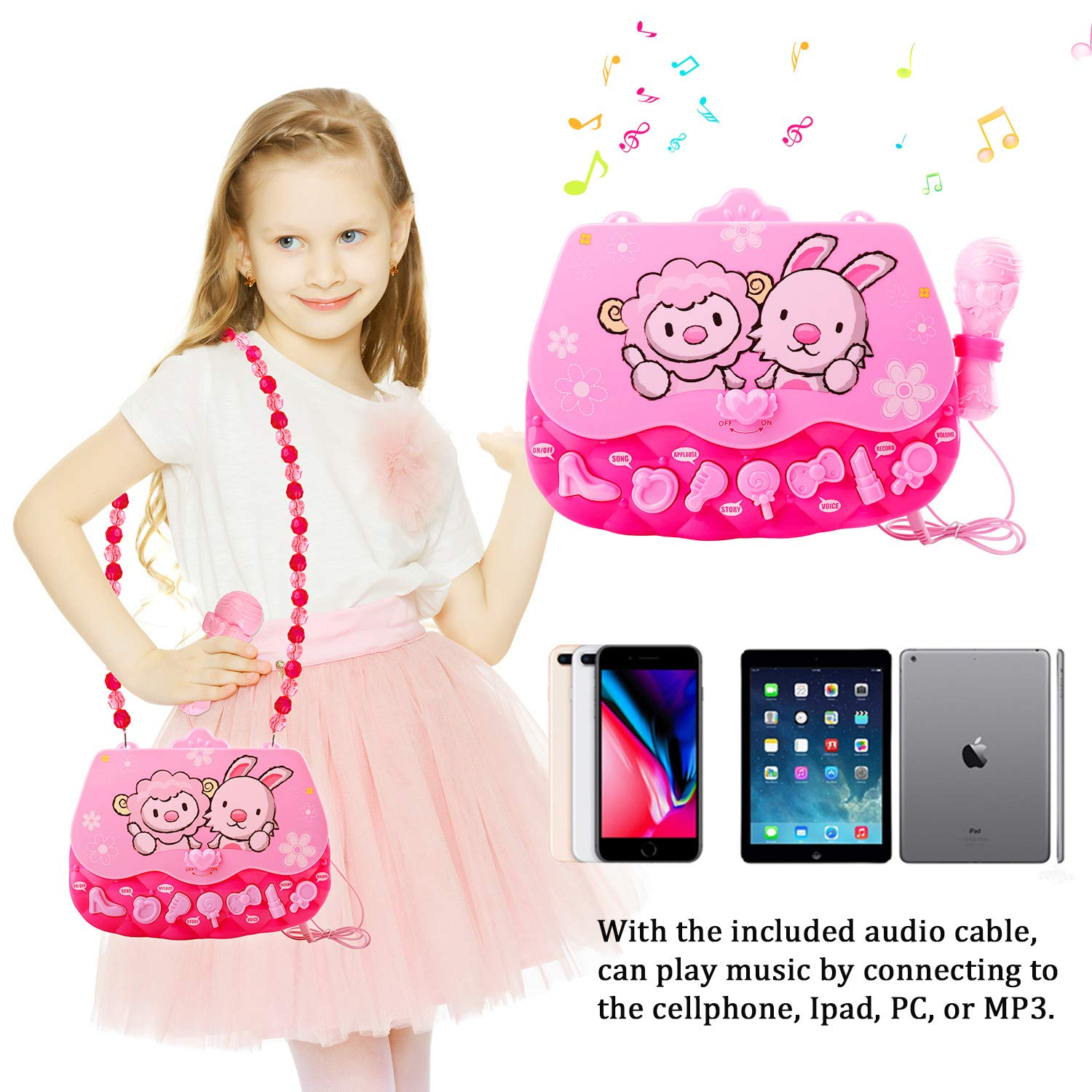 M SANMERSEN Karaoke Machine Toys for 3-6 Year Old Girls, Portable Musical Bag with Microphone Karaoke Player Toys for Girls Gifts Age 3 4 5 6 Xmas Gifts Pink by M SANMERSEN (Image #2)