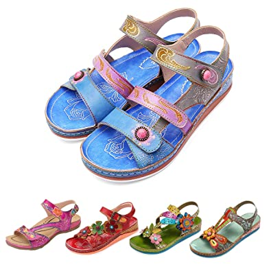 262bb39ac Amazon.com  gracosy Leather Sandals for Women