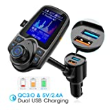 """Nulaxy Bluetooth FM Transmitter for Car, 1.8"""" Color Screen Radio Adapter W QC3.0 & 5V/2.4A Charging, Handsfree Call, Support microSD Card, Aux Play, EQ Modes - KM18 [Upgraded Version] Black Matte"""