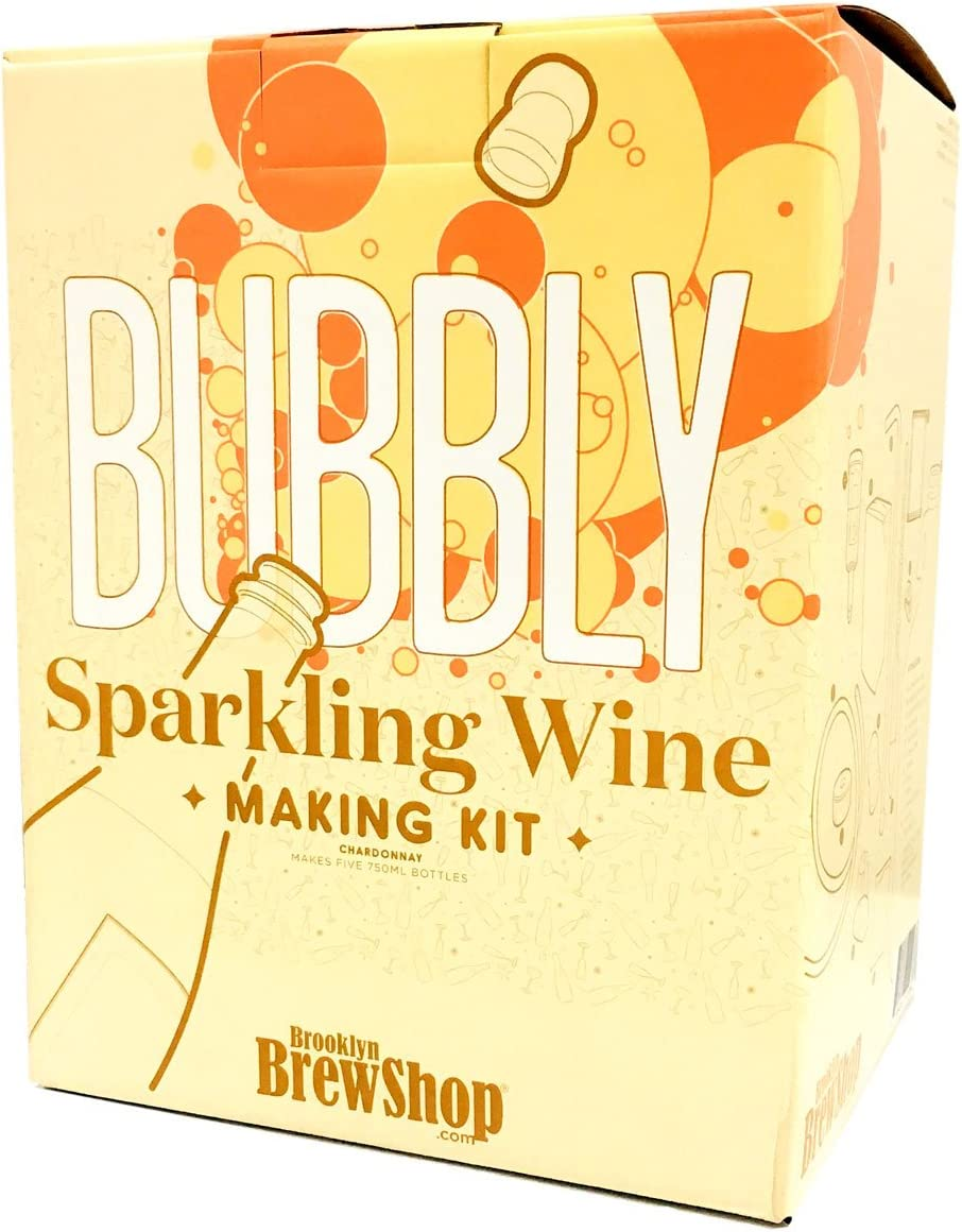 Brooklyn Brew Shop Sparkling Wine Making Kit: Bubbly Starter Set With Reusable Glass Fermenter, Brew Equipment, Ingredients - Perfect For Brewing Craft Bubbly At Home