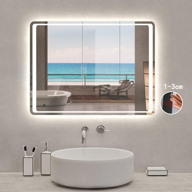 Illumination LED avec Fonction Anti-bu/ée//Interrupteur Infrarouge 90cmx65cm Xinyang Miroir pour Salle de Bain /éclairage int/égr/é