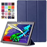 """Lenovo Tab 2 A10 / Tab3 10 Plus / Tab3 10 Business Étui - Housse à Rabat Fonction Réveil / Sommeil Automatique pour Lenovo Tab 2 A10-30 / A10-70 / Tab3 10 Plus / Tab3 10 Business 10"""" Tablet, Indigo"""