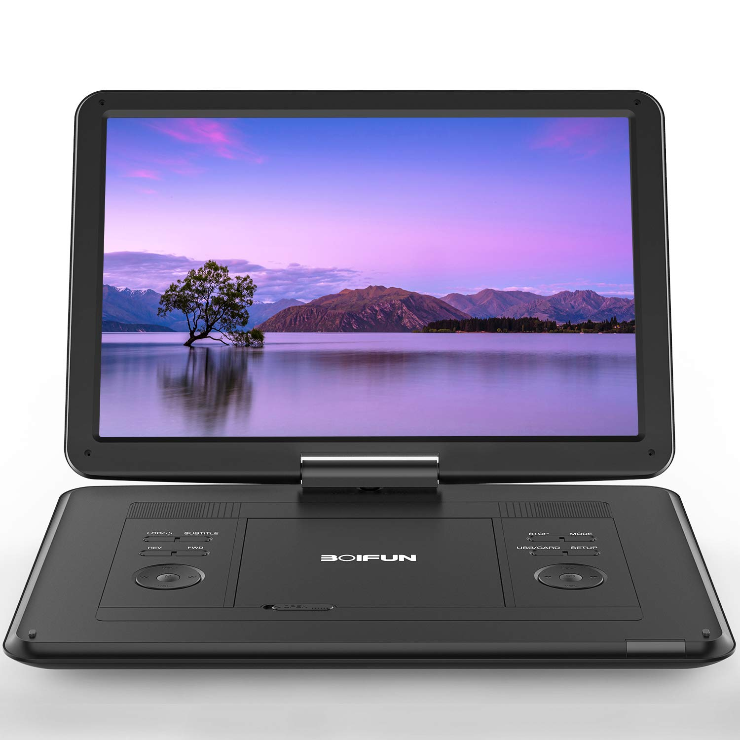 17.5'' Portable DVD Player with 15.6'' Large HD Screen, 6 Hours Rechargeable Battery, Support USB/SD Card/Sync TV and Multiple Disc Formats, High Volume Speaker, Black by BOIFUN
