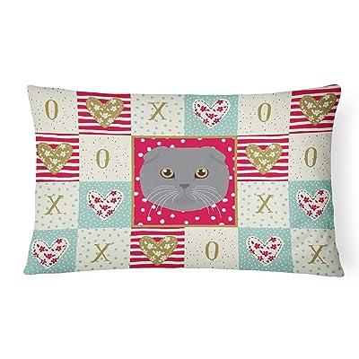 Caroline's Treasures CK5158PW1216 Scottish Fold Cat Love Canvas Fabric Decorative Pillow, 12H x16W, Multicolor : Garden & Outdoor