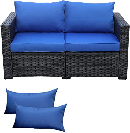Patio Pe Wicker Sofa Outdoor Garden Love Seat Chair Couch Furniture Black Rattan With Blue Cushion Kitchen Dining