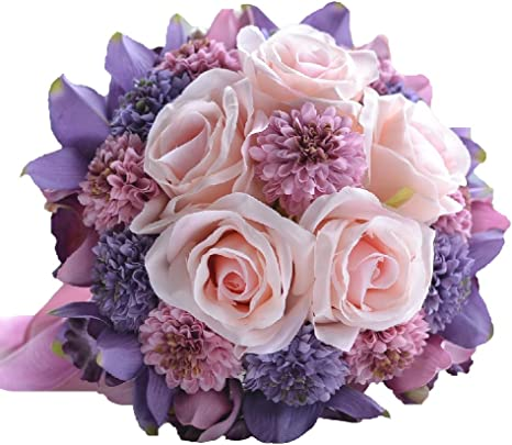 Pink peony bridal bouquet with rhinestone handle