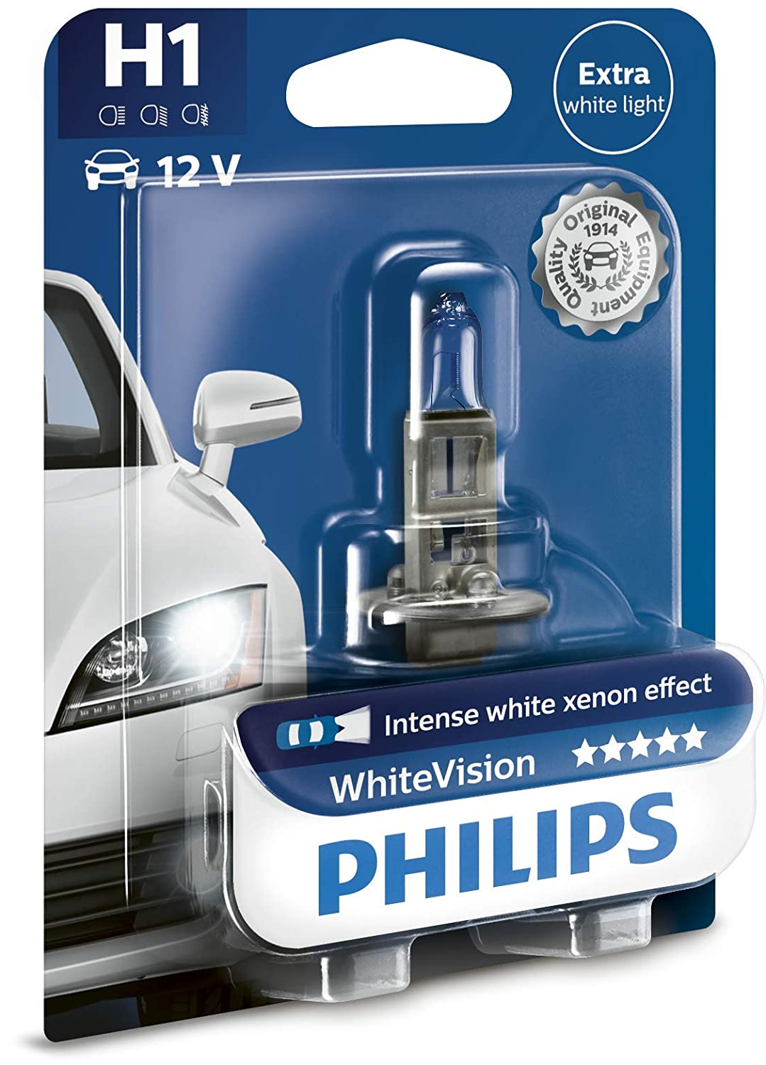 Philips WhiteVision Xenon Effect H1 Headlight Bulb 12258WHVSM Twin Pack