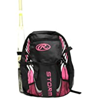 Rawlings Storm Girls T-Ball Softball Batting Bag Backpack Black/Pink