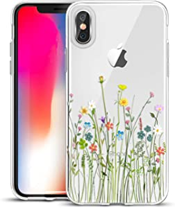 Unov Compatible Case Clear with Design Slim Protective Soft TPU Bumper Embossed Floral Pattern Protective Back Cover for iPhone Xs (2018) iPhone X (2017) 5.8 Inch(Flower Bouquet)