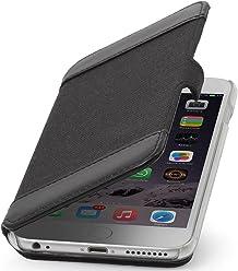 """StilGut Book Type Case con Clip, Custodia in Vera Pelle e Tessuto a Libro per Apple iPhone 6s (4.7""""), Nero"""