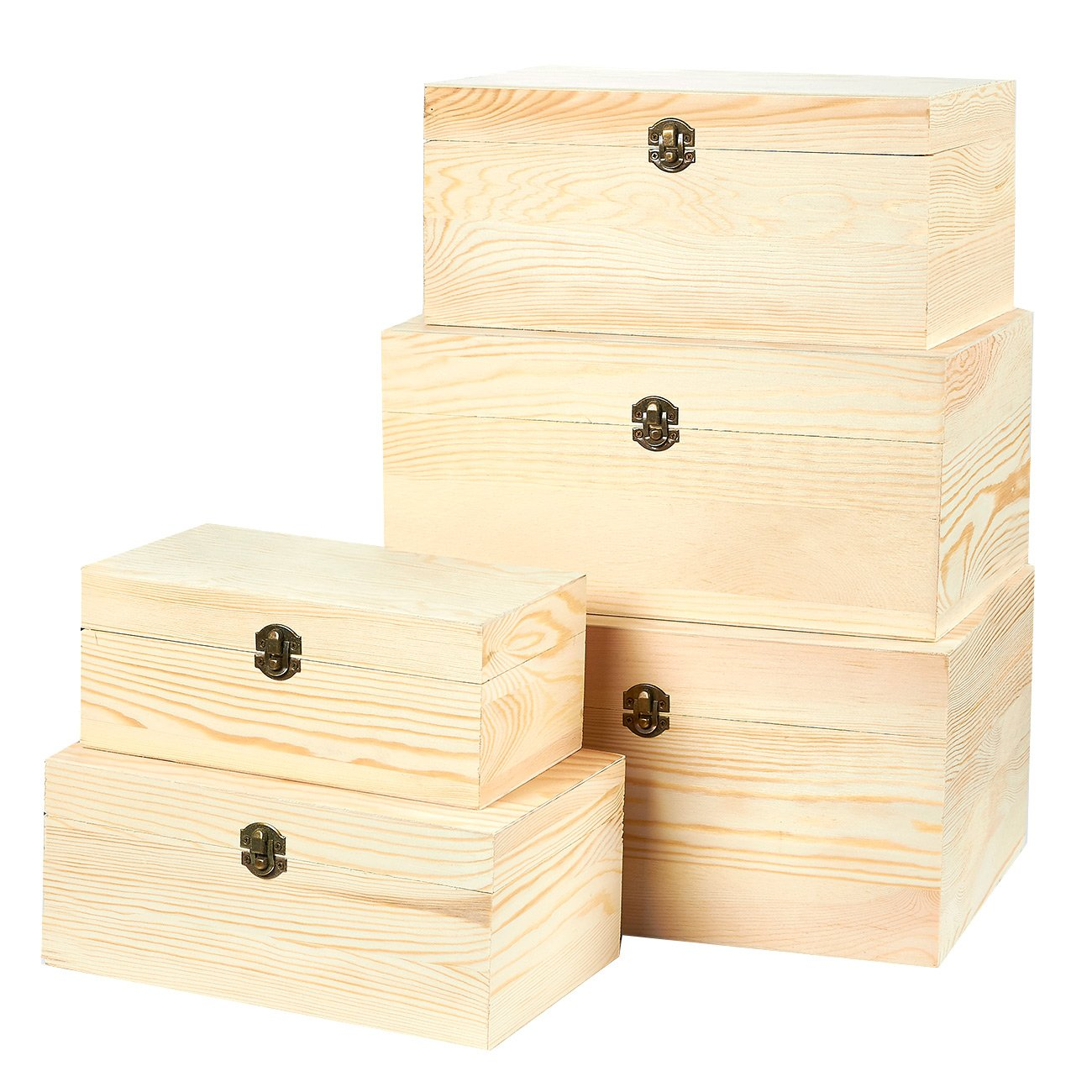 Juvale Wooden Boxes - 5-Piece Hinged-Lid Boxes Arts, Crafts, Hobbies Home Storage, Natural Wood Color