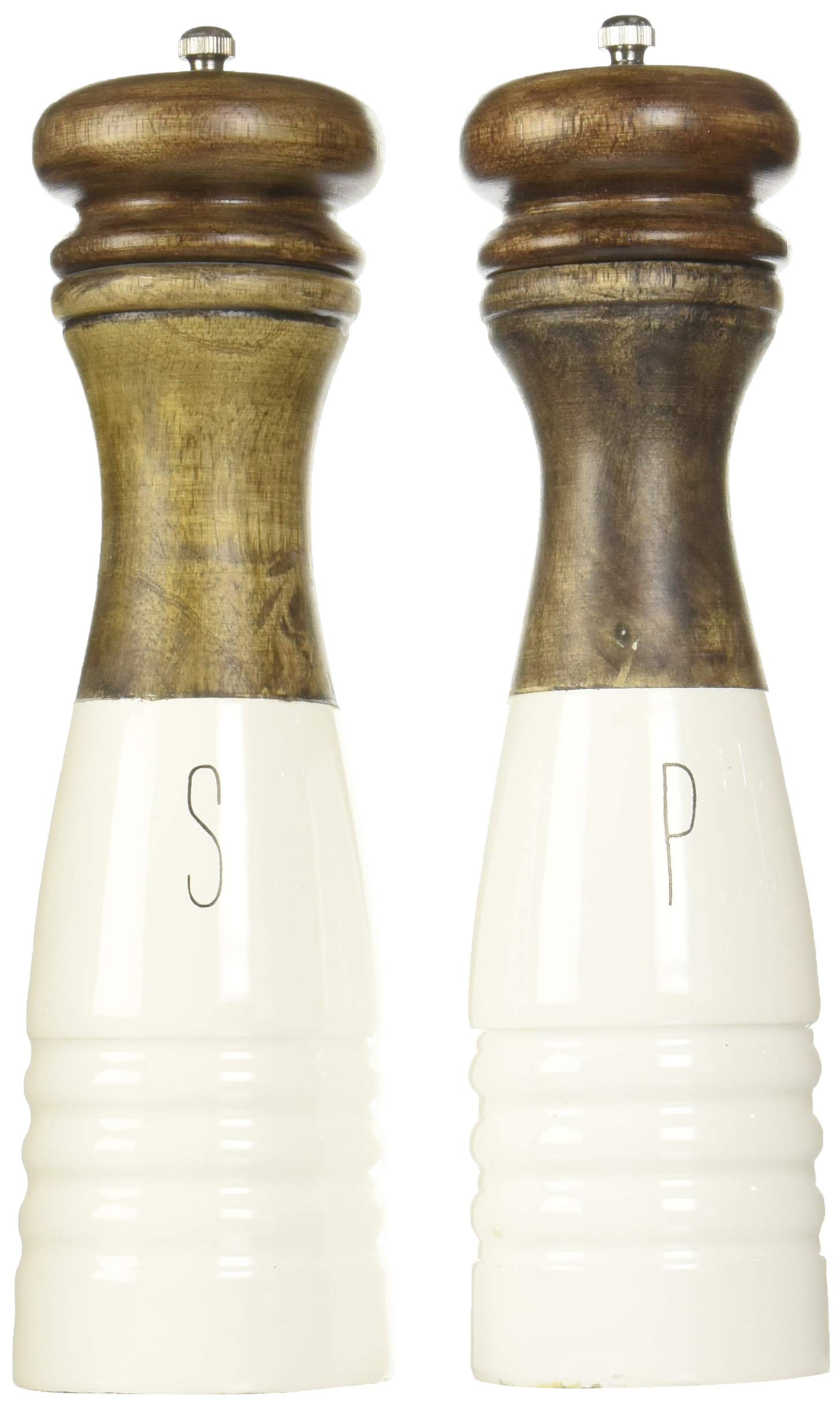 Mud Pie 4504007 Farmhouse Wood and Enamel Mills Salt and Pepper Set, One Size, White, Brown by Mud Pie
