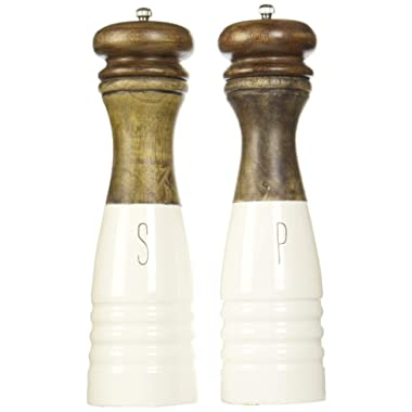 Mud Pie 4504007 Farmhouse Wood and Enamel Mills Salt and Pepper Set, One Size, White, Brown