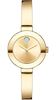 Movado Womens BOLD Bangles Yellow Gold Watch with a Flat Dot Sunray Dial, Gold (