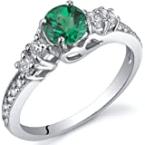 Simulated Emerald Solstice Ring Sterling Silver Sizes 5 to 9