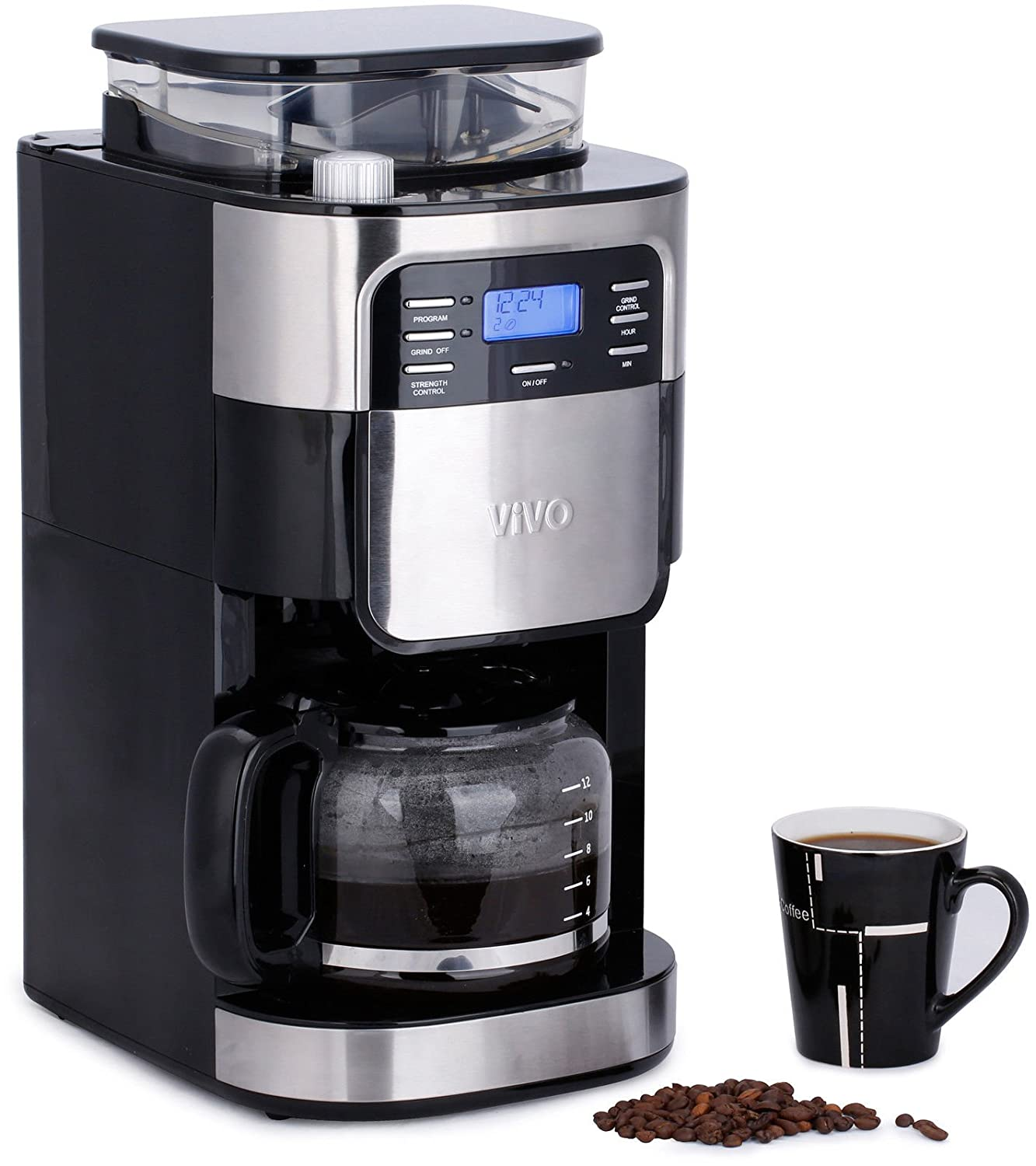 Coffee To Cup Machines Part - 16: Vivo © 1.5L Bean To Cup Digital Stainless Steel Filter Coffee Maker Machine  With Integrated Grinder Barista