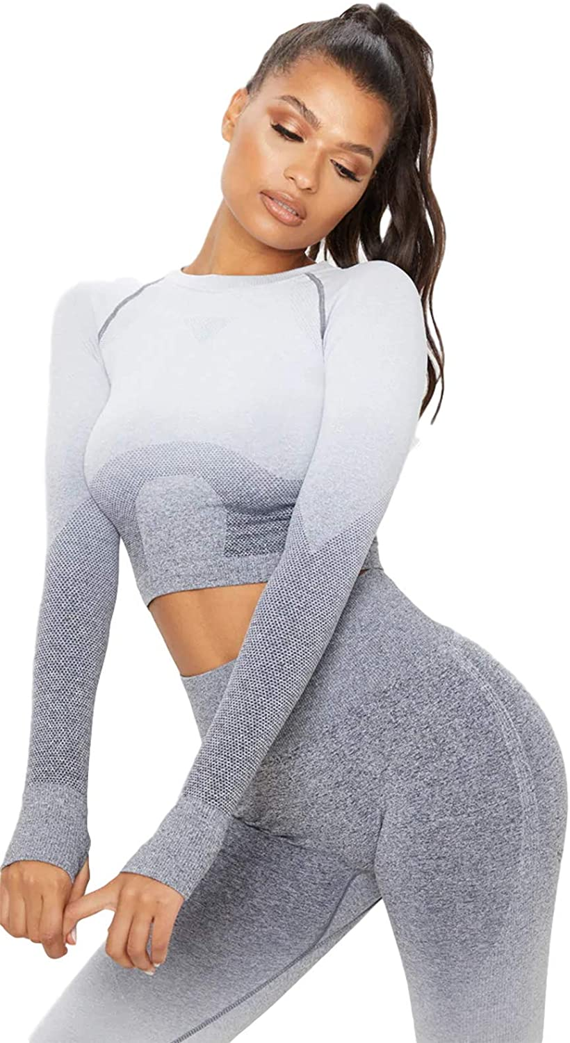 Seamless Ombre Long Sleeve Crop Top Fitness Workout Gym Running Yoga Excise Shirts for Women