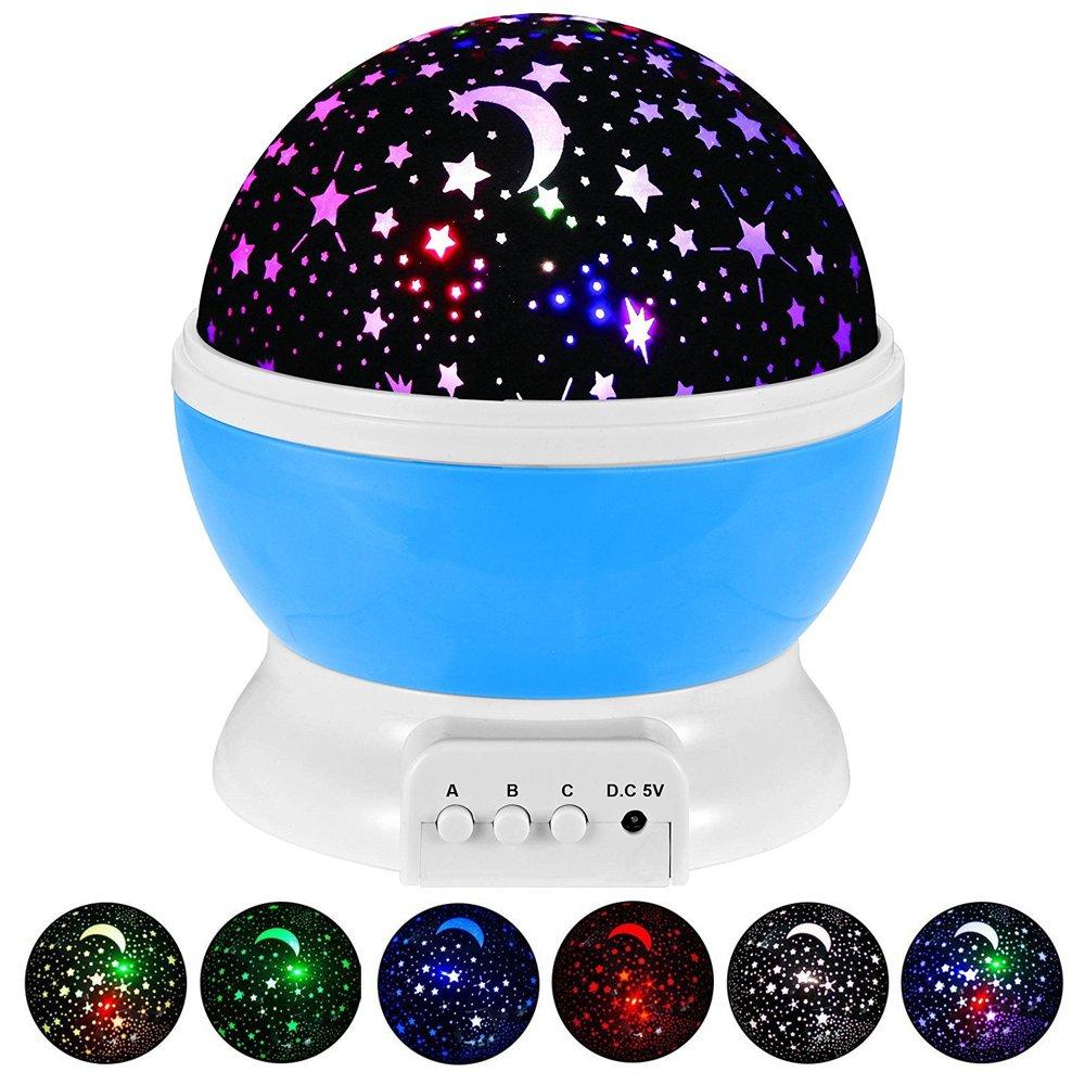 Lámpara Infantil GRDE Regalo Para Niñas Lámpara Proyector Rotación Grados de Estrellas