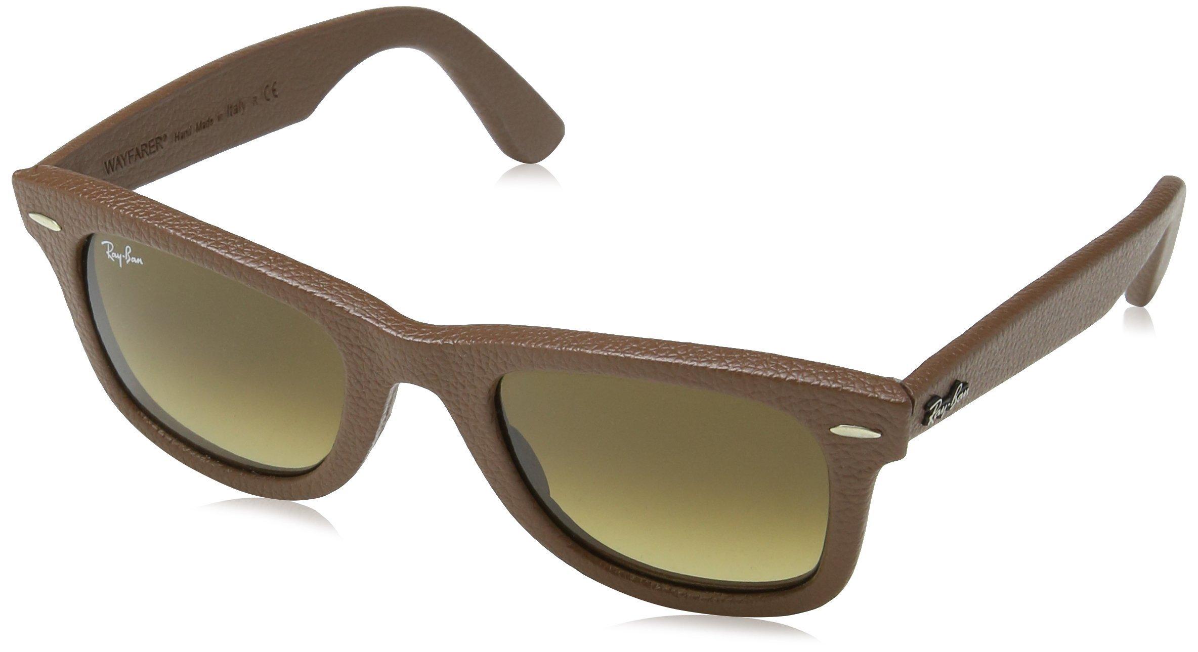Ray-Ban 2140QM 116985 Leather Brown Wayfarer Sunglasses