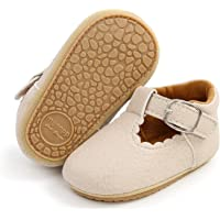 TAREYKA Baby Girl Mary Jane Flats Non Slip Soft Sole with Bownot Infant Toddler First Walker Princess Dress Shoes 0-18…
