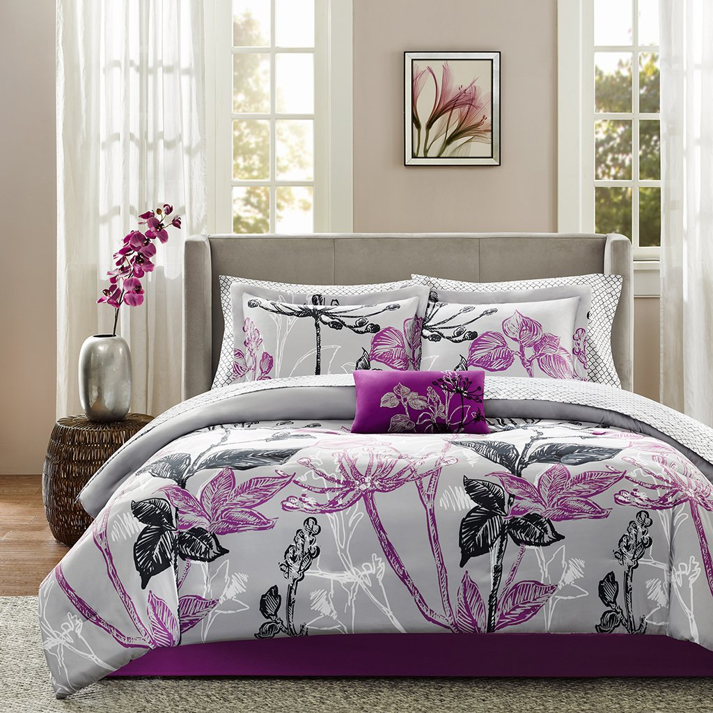 complete bedroom sets. Amazon com  Madison Park Essentials Claremont Complete Bed and Sheet Set Queen Purple Home Kitchen