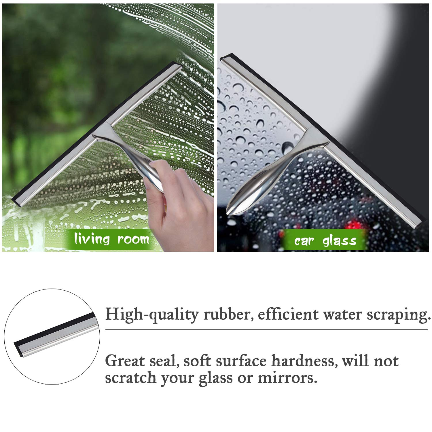 """K Kwokker 12/"""" Squeegee for Shower Door Glass Marble Fiberglass for Home Bathroon Kitchen Car Window Body Chrome Plated Streak Free Tile Desk Scraper with Soft Rubber Water Blade/&Suction Cup/&Hooks"""
