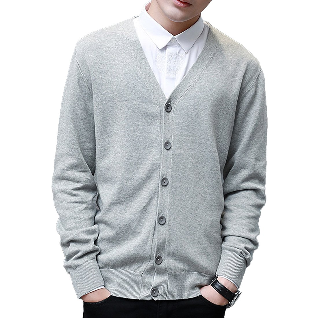 HDH Knit Cardigan,Mens Lightweight Cardigans Slim Fit Knitwear V-Neck Front Button Versatile Kintted Cardigan Sweater